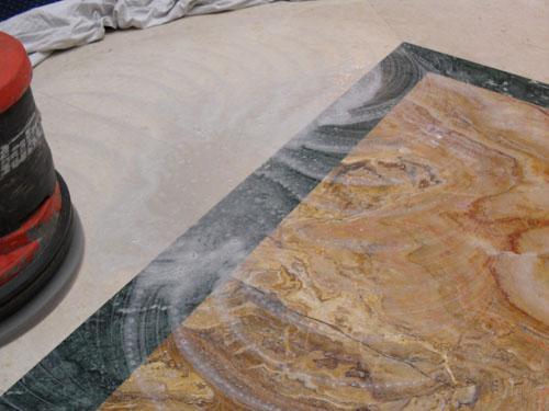 Мраморный пол после размывки белым алмазным падом Твистер размывка полировка очистка пэд Twister купить